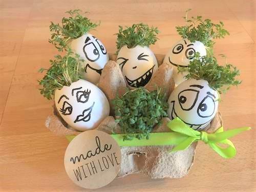 Kresse-Eier zur Osterzeit